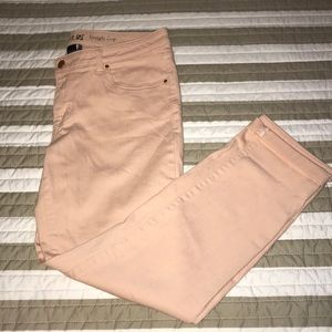 Blush ankle jeans rose gold buttons